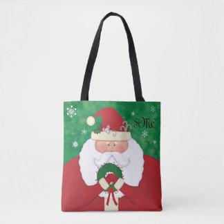 Christmas Eve Santa Monogram Tote Bag
