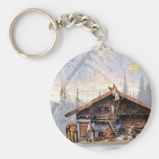 Christmas eve story decoration house keychain
