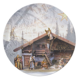 Christmas eve story decoration house plate