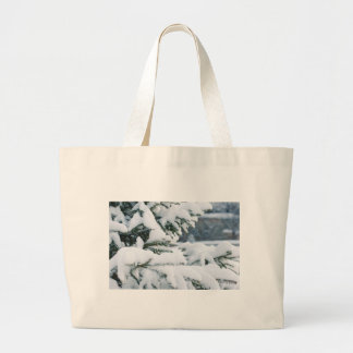 Christmas eve tree snowing large tote bag
