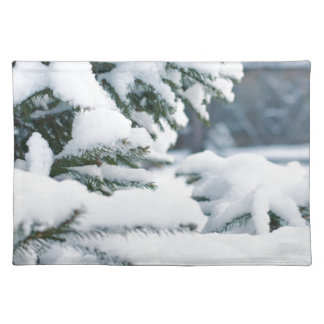 Christmas eve tree snowing placemat