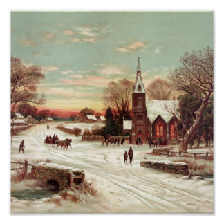 Christmas Eve Winter Scene Poster