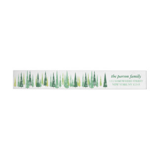 Christmas Evergreens Snowflake Winter Scene Wrap Around Label