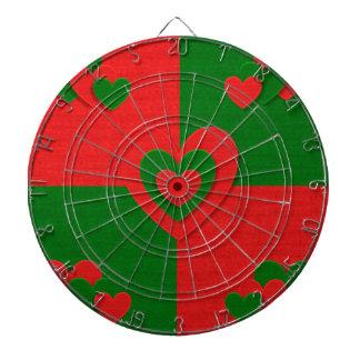 christmas fabric hearts love red dartboard