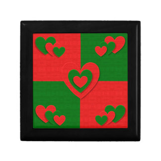 christmas fabric hearts love red gift box