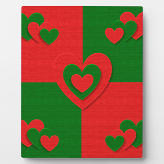 christmas fabric hearts love red plaque