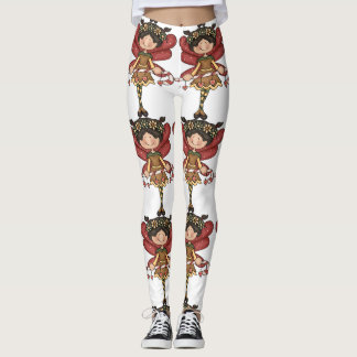 Christmas fairy red white brown leggings
