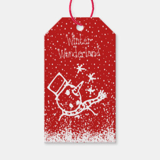 Christmas Falling Snow Winter Wonderland Snowman Gift Tags