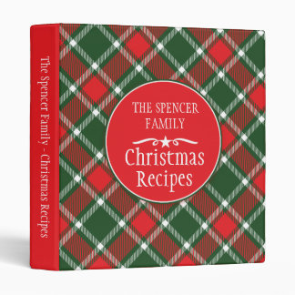 Christmas family holiday recipe tartan folder 3 ring binder