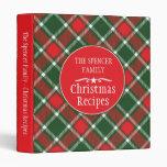 Christmas family holiday recipe tartan folder 3 ring binder