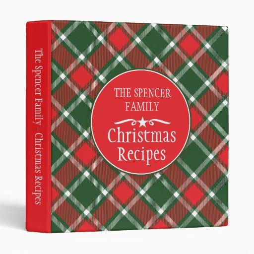 Christmas family holiday recipe tartan folder binders