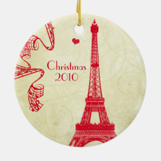Christmas Family Photo with Eiffel Tower Ceramic Ornament