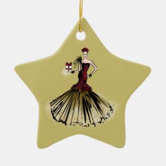 Christmas Fashion Illustration with parcel Ceramic Ornament