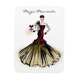 Christmas Fashion Illustration with parcel Magnet