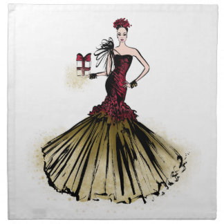 Christmas Fashion Illustration with parcel Napkin