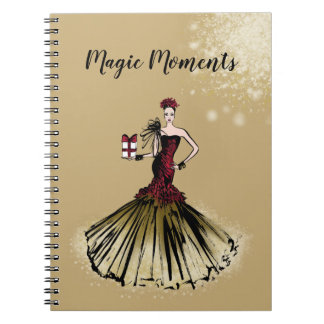 Christmas Fashion Illustration with parcel Notebooks