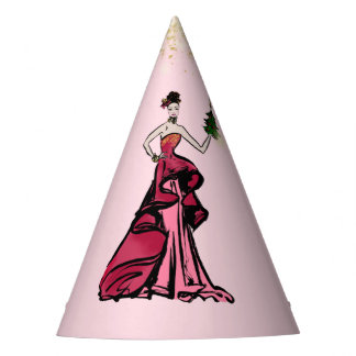 Christmas Fashion Illustration with parcel Party Hat