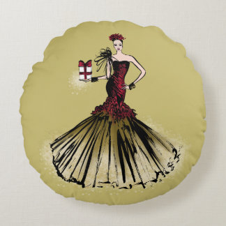 Christmas Fashion Illustration with parcel Round Pillow