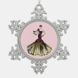 Christmas Fashion Illustration with parcel Snowflake Pewter Christmas Ornament