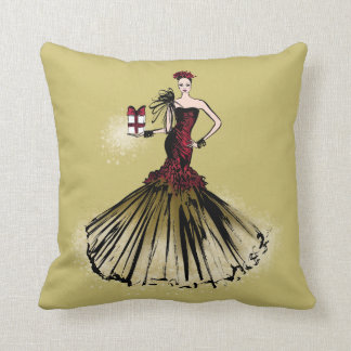Christmas Fashion Illustration with parcel Throw Pillow