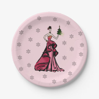 Christmas Fashion Illustration with tree Paper Plate