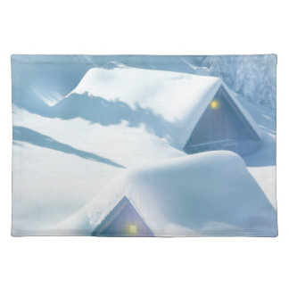 christmas favor snowing houses placemat