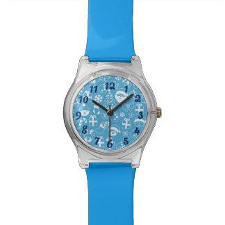Christmas Favorite Blue Santa Elf Reindeer Pattern Wristwatch