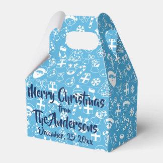 Christmas Favorites Blue Santa Elf Snowman Pattern Favor Box