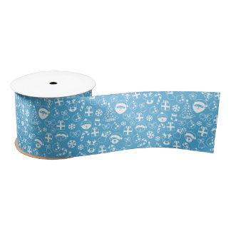 Christmas Favorites Blue Santa Elf Snowman Pattern Satin Ribbon