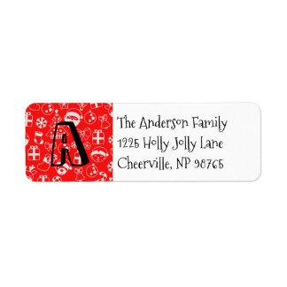 Christmas Favorites Red Santa Elf Snowman Monogram Return Address Label