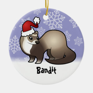 Christmas Ferret (add your pets name) Ceramic Ornament