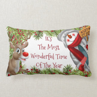christmas festive snowman reindeer pillow cushion