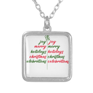 Christmas-Festive-Tree Silver Plated Necklace