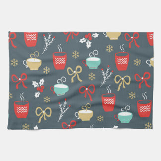 Christmas Fir Branch And Cups Kitchen Towel