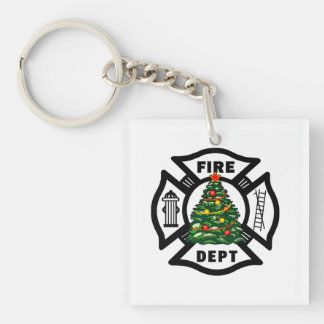 Christmas Fire Dept Square Acrylic Keychains