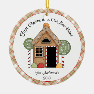 Christmas First Home Gingerbread House Round Ceramic Ornament