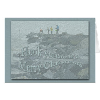 Christmas Fishing on the Jetty Barnegat Items Card