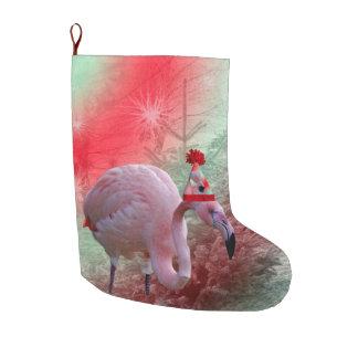 Christmas Flamingo Christmas Stocking Large