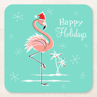 Christmas Flamingo Happy Holidays coaster square