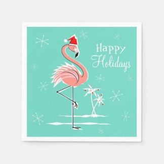 Christmas Flamingo Happy Holidays paper napkin