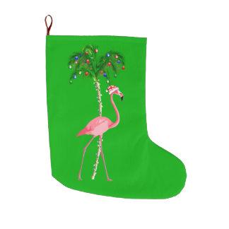 Christmas Flamingo Large Christmas Stocking