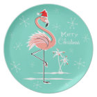 Christmas Flamingo Merry Christmas melamine plate