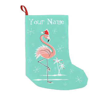 Christmas Flamingo Name stocking one sided