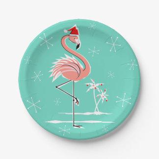 Christmas Flamingo paper plate
