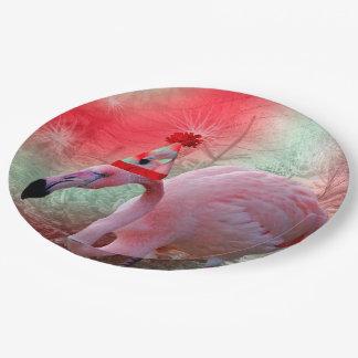 Christmas Flamingo Paper Plates