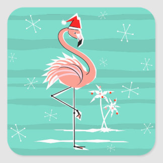 Christmas Flamingo Stripe sticker square