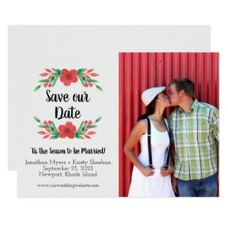 Christmas Floral Holiday Save the Date Photo Card