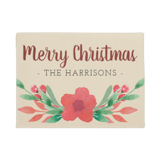 Christmas Floral Personalized Family Name Door Mat