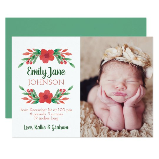 Christmas Floral Photo Birth Announcement