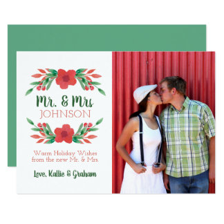 Christmas Floral Photo New Mr and Mrs Holiday Card